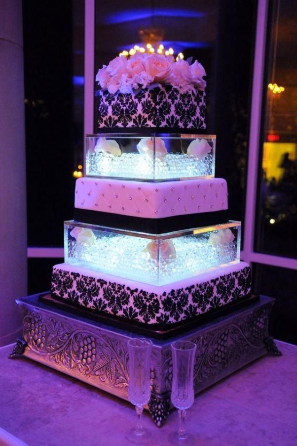 25 cute contemporary wedding cakes ideas on pinterest elegant square contemporary wedding cakes with purple lighting junglespirit Choice Image