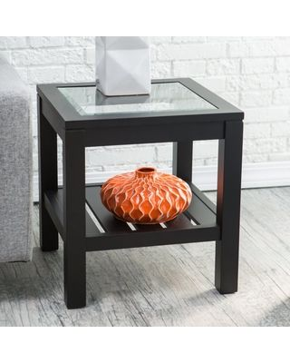 Slash Prices on Sutton Glass Top End Table with Slat Bottom