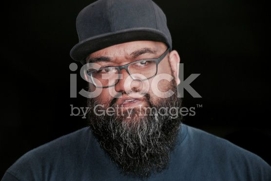 Maori/ Polynesian Man with Beard and Hat royalty-free stock photo