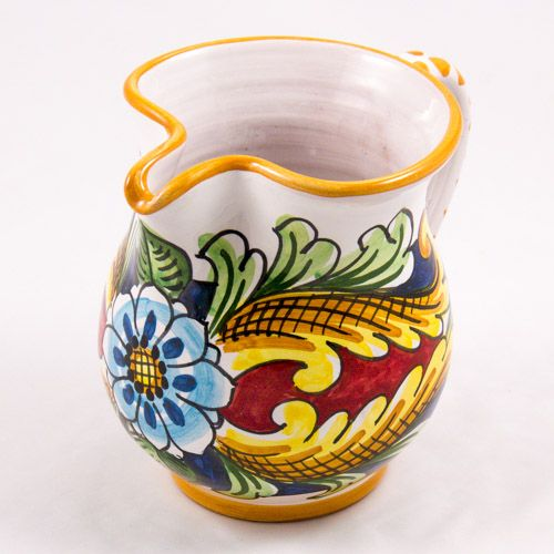 Miscellaneous: #Italy. Milk Jug from #Sicily. Two Tulips and Blue Flower. #Caltagirone #Ceramics. Hand Made. Volume 0.25L