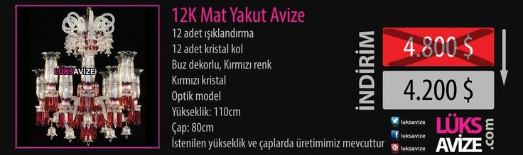12K Mat Yakut Avize