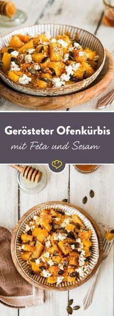 Besonders aromatisch wird der knallige Kollegen aus dem Gemüse-Regal als Ofenkürbis, mit Sesam und Honig geröstet und mit würzigem Feta bestreut.