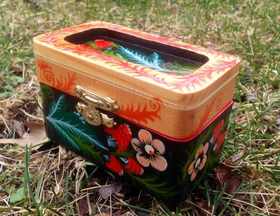 Wooden Jewelry Box Hand Painted in by RussianFolkPaintings on Etsy