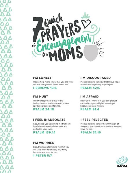 Moms need prayers of encouragement. Here are 7 short prayers you can say when you need a boost.