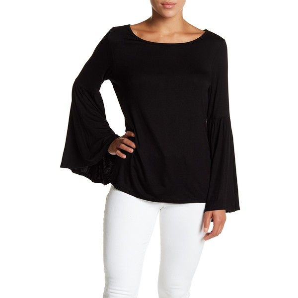 Vanity Room Angel Sleeve Tee (Petite) (£21) ❤ liked on Polyvore featuring tops, t-shirts, black, petite, sleeve top, scoop-neck tees, scoopneck top, petite tops and petite tee
