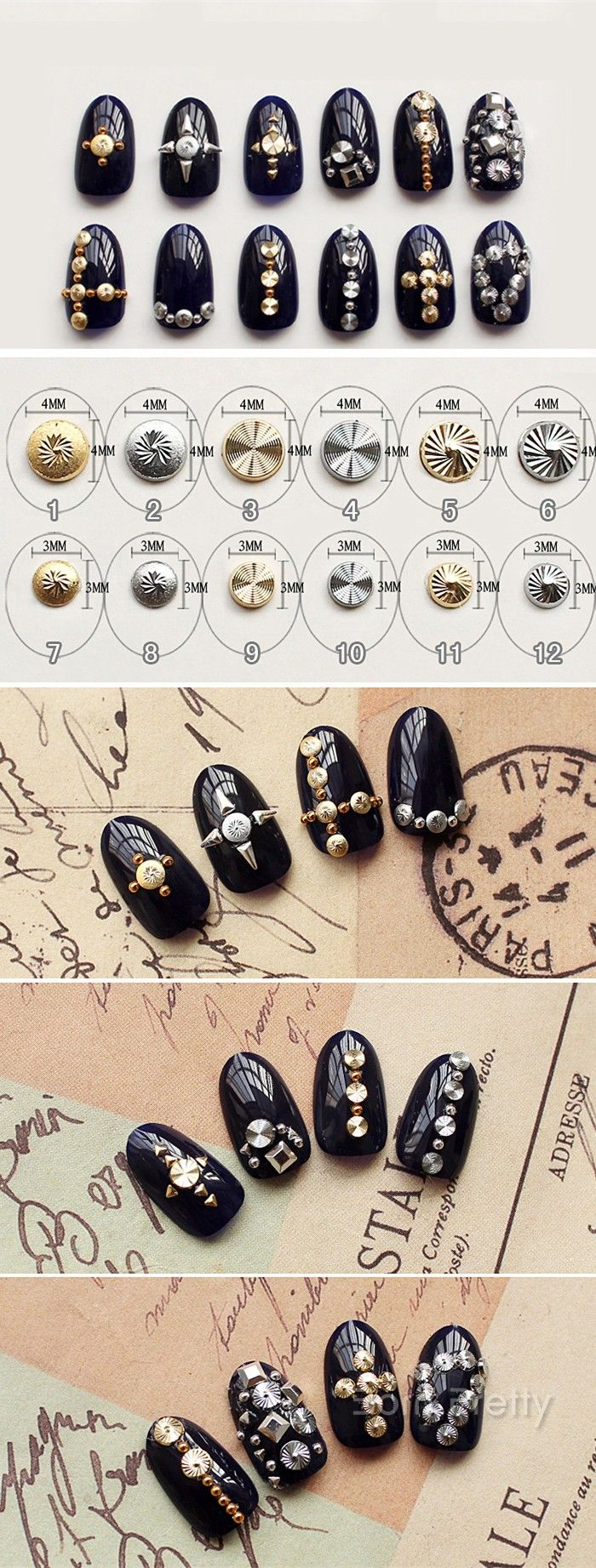 $2.13 10Pcs/set Gold Silver Spiral Round Nail Studs Charming 3D Nail Art Decoration - BornPrettyStore.com