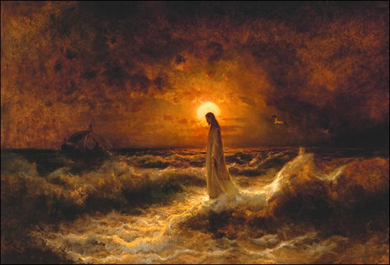 """""""Walking on Water"""", by Julius Sergius von Klever.    I love this painting that reminds that even Christ needed time to himself--and the way he got this is by walking on water where he could be alone with his thoughts."""