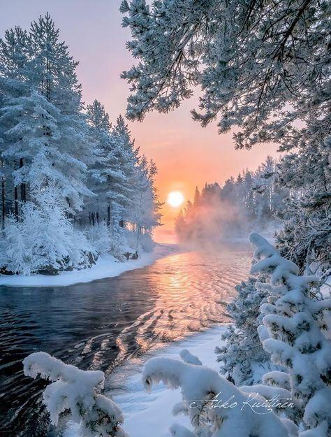 Sehr schöne Winterlandschaft mit Sonnenuntergang ! – Gabriele Hammon – #Gabriel…