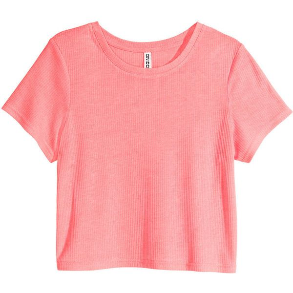H&M Ribbed jersey top ($6.26) ❤ liked on Polyvore featuring tops, crop tops, shirts, t-shirts, neon pink, short shirts, red shirt, crop top, jersey tops and short sleeve shirts