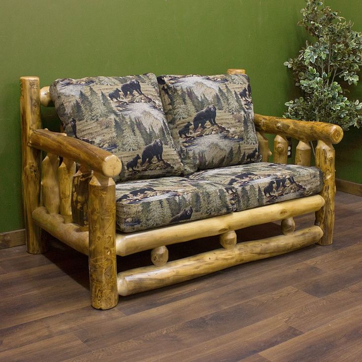 Aspen Log Loveseat Rustic Log Furniture Cabin Decor