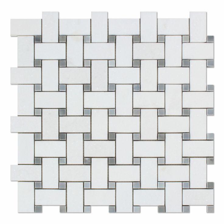 Buy Thassos White Marble Honed Basketweave Mosaic Tile w/ Blue-Gray Dots Sample…