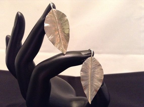 Rose leaf earrings by ArtisanJewelryWorks on Etsy