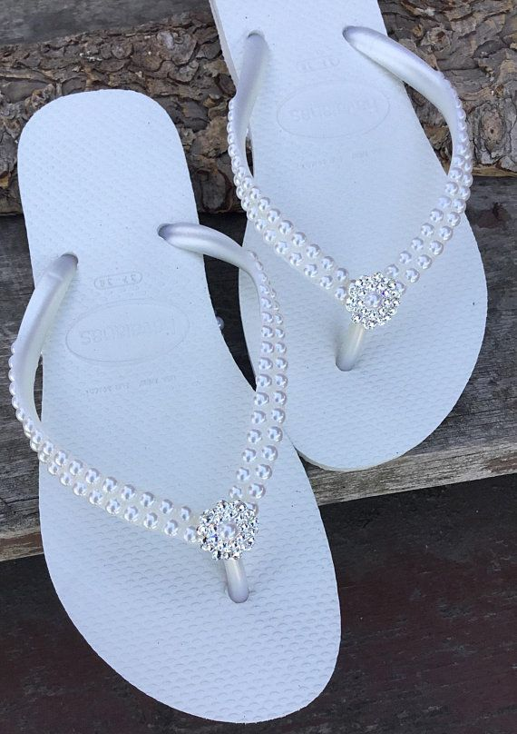 dad3537259c92 White Pearl Havaianas Slim Flip Flops Bridal Crystal Rose w Swarovski Rhinestone  Bling Bride Silver BridesMaid Beach Wedding shoes