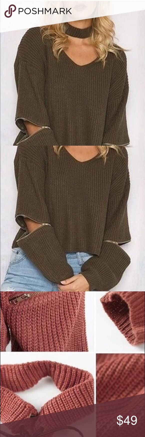 COMING SOONSweater Halter V neck ripped sweater design with zippers on the sleeve and a detachable choker that ties in the back. Made of 100% Acrylic.   ⭐️Like this item if you would like to be notified when it arrives!⭐️ Braggnwrights Sweaters V-Necks