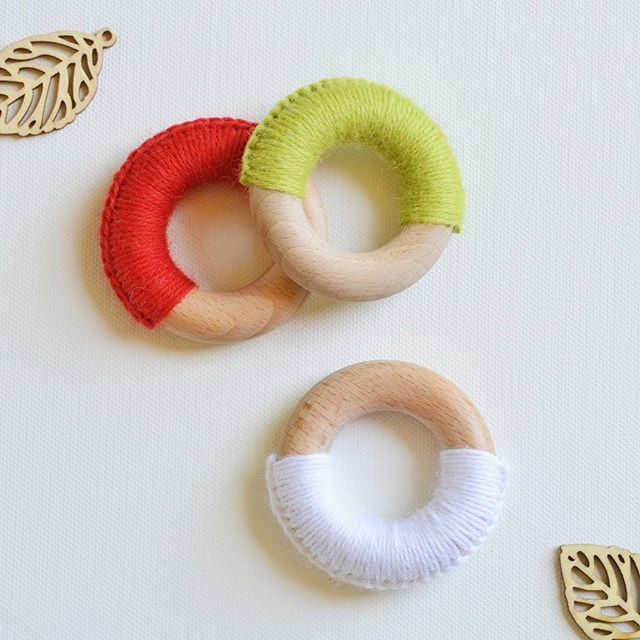 What's red, green, white and chewy? These 'Archie' wooden teething rings of course! They are the perfect gift for baby's first Christmas. Grab one (or two) from woodn.bigcartel.com.