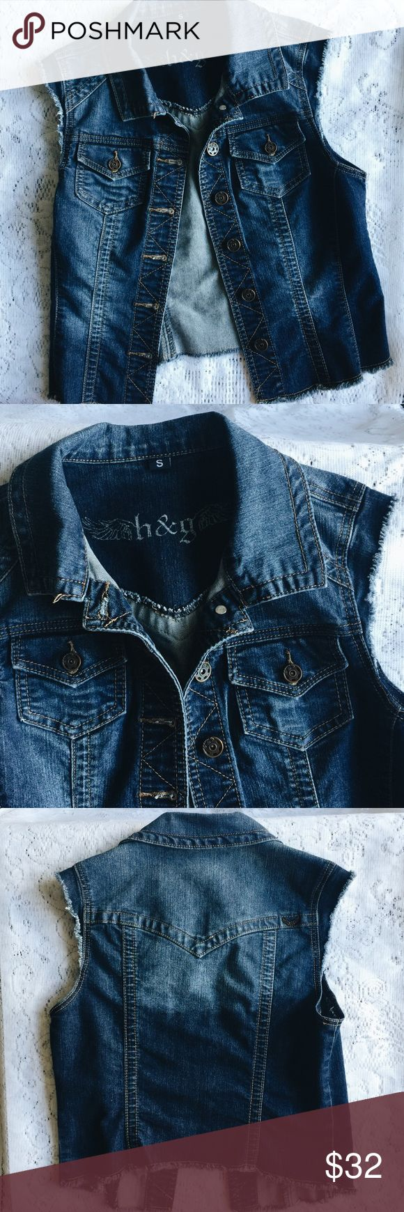 medium wash denim vest h&G brand, purchased at a boutique in Los Angeles. Worn once, very comfortable and lightweight. Perfect condition! Dress it up with pins & patches! Listing as Brandy Melville for exposure 💕 Brandy Melville Tops
