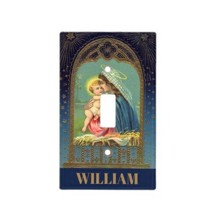Vintage Virgin Mary Baby Jesus Christian Nursery Light Switch Cover