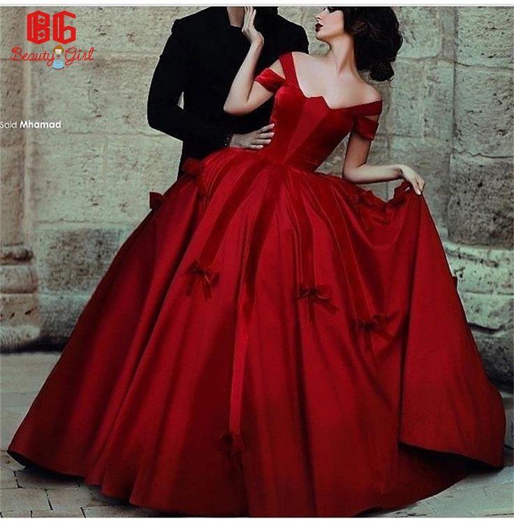 2015 New Arrivals Vestido De Novia Ball Gown Taffeta And Velvet Red Wedding Dresses