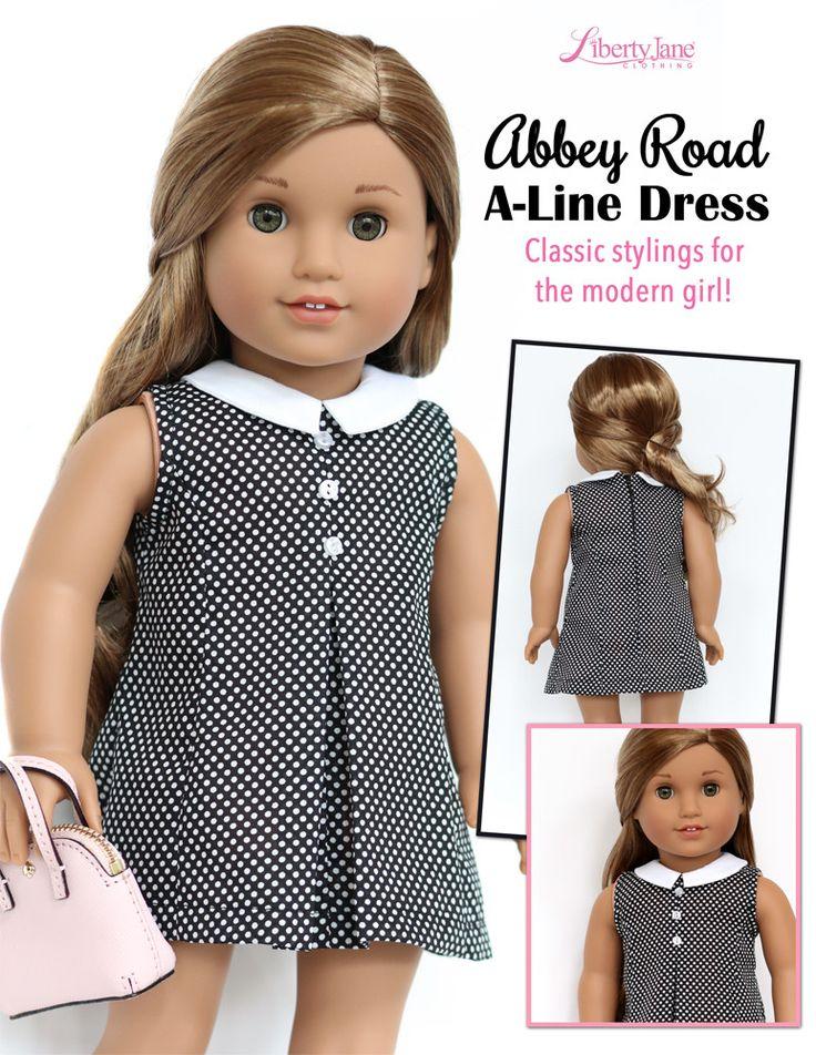 "Abbey Road A-Line Dress 18"" Doll Clothes Patern | Kate Spade | 1960s Fashion | Liberty Jane"
