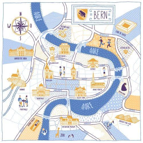 Redesign City Map of Bern / Switzerland Diseño de DreamMaster ...