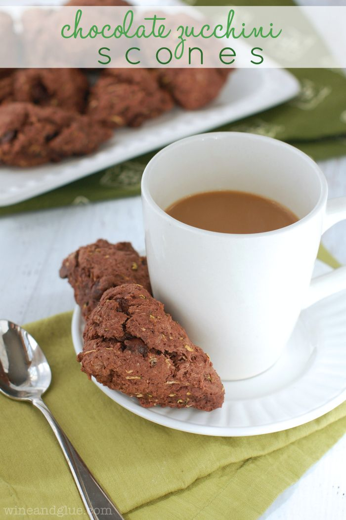 Chocolate Zucchini Scones | www.wineandglue.com | Chocolate for breakfast in the form of a moist yummy scone!