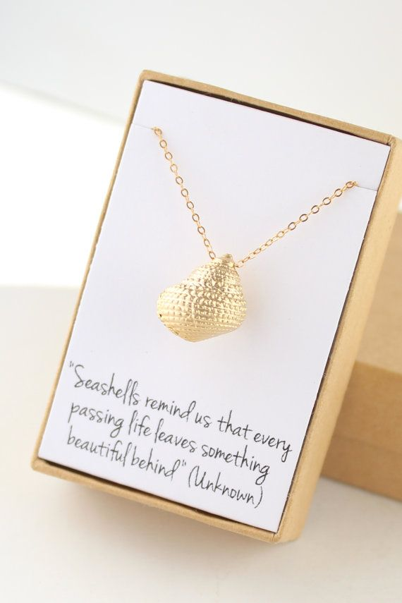 Gold Seashell Necklace Sea Shell Conch Necklace by powderandjade