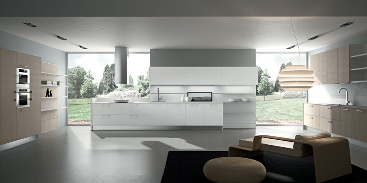 Baltico Oak and Matt White thermal-structure doors. HPL worktop in Bianco Ghiaccio finish. #ArritalCucine #Kculture #modern #kitchen #Yoshi