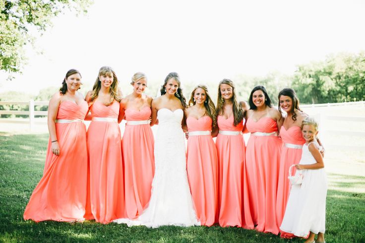 Salmon allure bridesmaid long dresses with champagne sash and ...