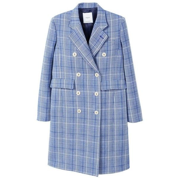 Checked Structured Coat found on Polyvore featuring outerwear, coats, checkered coat, fur-lined coats, blue coat, mango coats and lapel coat
