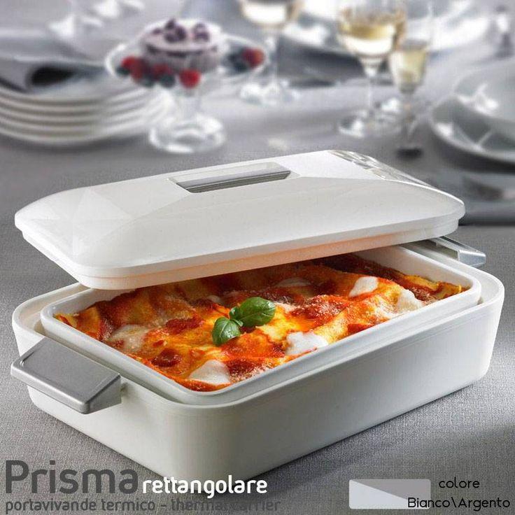 Contenitore Termico rettangolare per alimenti con pirofila in porcellana Prisma Litri 2.8 Bianco Manici Argento | Enjoy Ater | Stilcasa.Net: contenitori termici