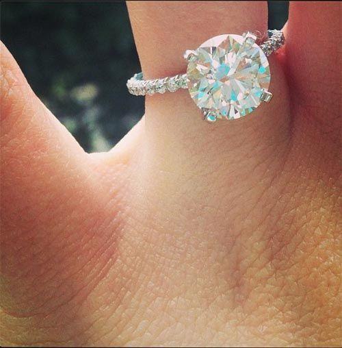 round cut diamond on a skinny diamond band, PERFECTION