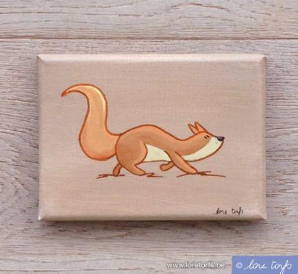 Canvas voor in baby- of kinderkamer - 18x13 cm - eekhoorn op mokka achtergrond. Handgeschilderd!