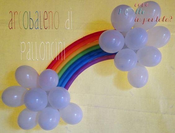 Arcobaleno di palloncini come decorazione per una festa di compleanno:
