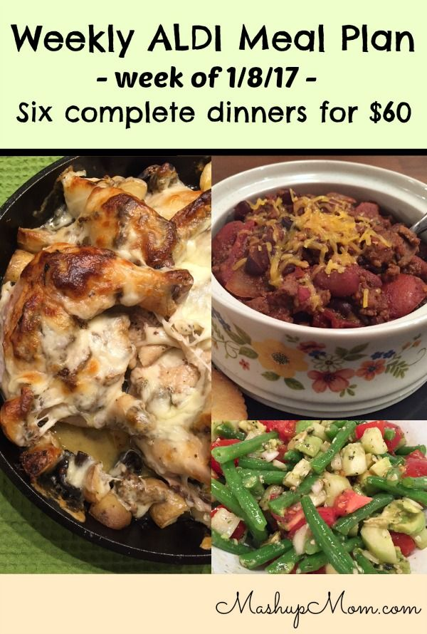 Weekly ALDI meal plan week of 1/8/17 - 1/14/17 -- Six complete dinners for four, $60 out the door! Save time & money with meal planning. http://www.mashupmom.com/weekly-aldi-meal-plan-week-1817-11417/