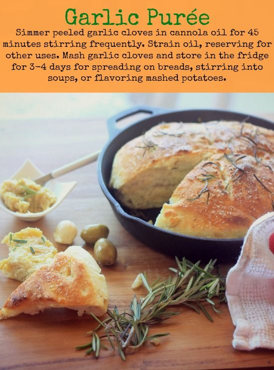 No-Knead Skillet Bread + garlic purée (probably not till I retire... or carbs aren't such a thing LOL)