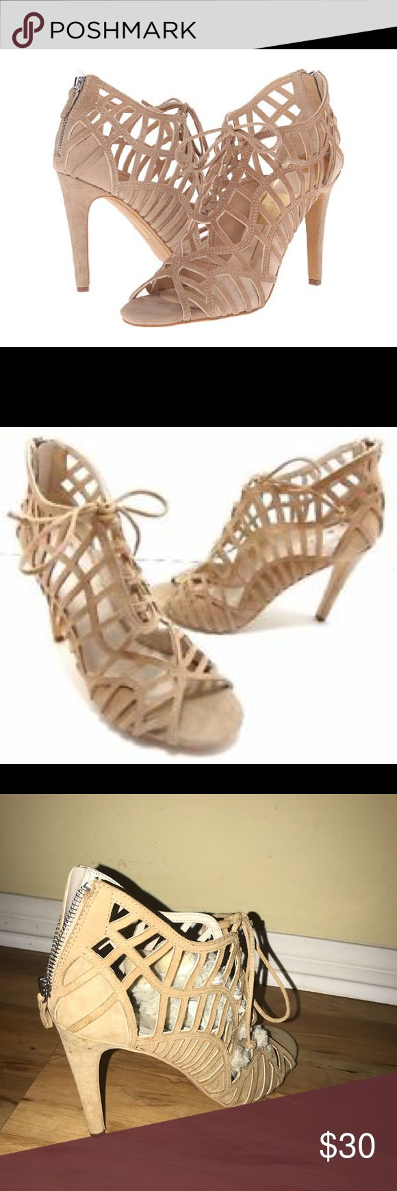 DV dolce Vita open toe cage heel Open toe caged lace up heel/sandal. Nude. 4 Inch heel. Worn only twice Dolce Vita Shoes Heels