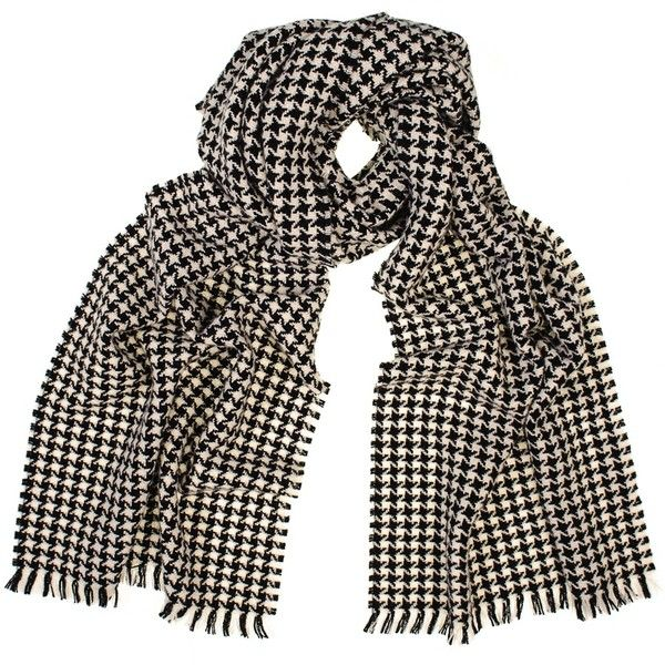 Black and Ivory Houndstooth Cashmere Scarf (€200) ❤ liked on Polyvore featuring accessories, scarves, black cashmere scarves, cashmere scarves, black shawl, fringed shawls and print scarves