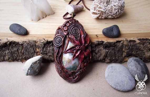 Agate Pendant Polymer Clay and Gemstone by SpiritualAmulets