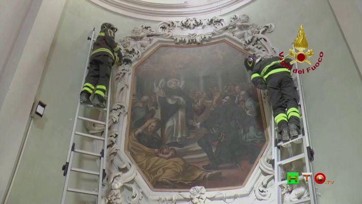 Vigili del Fuoco - Camerino - Recupero opere d'arte Tempio di Santa Cate...