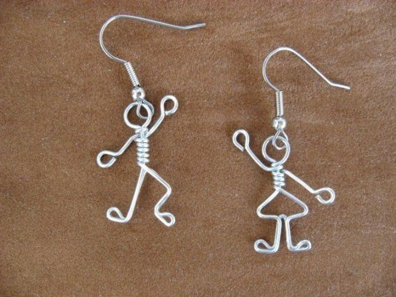 BOY GIRL EARRINGS for teachers mothers wirework by chatnoir77, $14.00