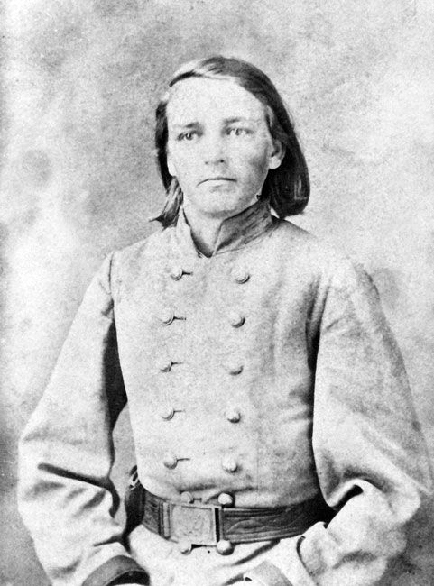 """Howell """"Doc"""" Rayburn - 12th Texas Cavalry, CSA. Called the most dangerous man in Arkansas during the Civil War. Good looks, long blond hair and blue eyes, he was only 21 yrs of age and weighed barely 100 pounds. Separated and trapped behind enemy lines, Howell recruited his own company - young boys about his age - that became known as the Phantom Unit for their daring exploits and ability to appear out of nowhere and pounce on unsuspecting federals."""
