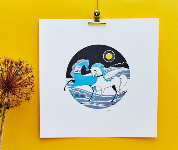 Moon Light Stroll is a 4 colour screen-print (one is special metallic ink), hand printed with water based acrylic inks on 300gsm, acid-free high quality watercolour paper. Print size: 45 x 45cm (approx) Edition: 30 prints; signed and numbered.  This print is sold unframed, and is sent carefully bagged and rolled inside a sturdy cardboard tube. The print will fit into any hight street frames, the frame used on the picture is from IKEA.  Screenprinting is a craft, and as such, prints do vary…