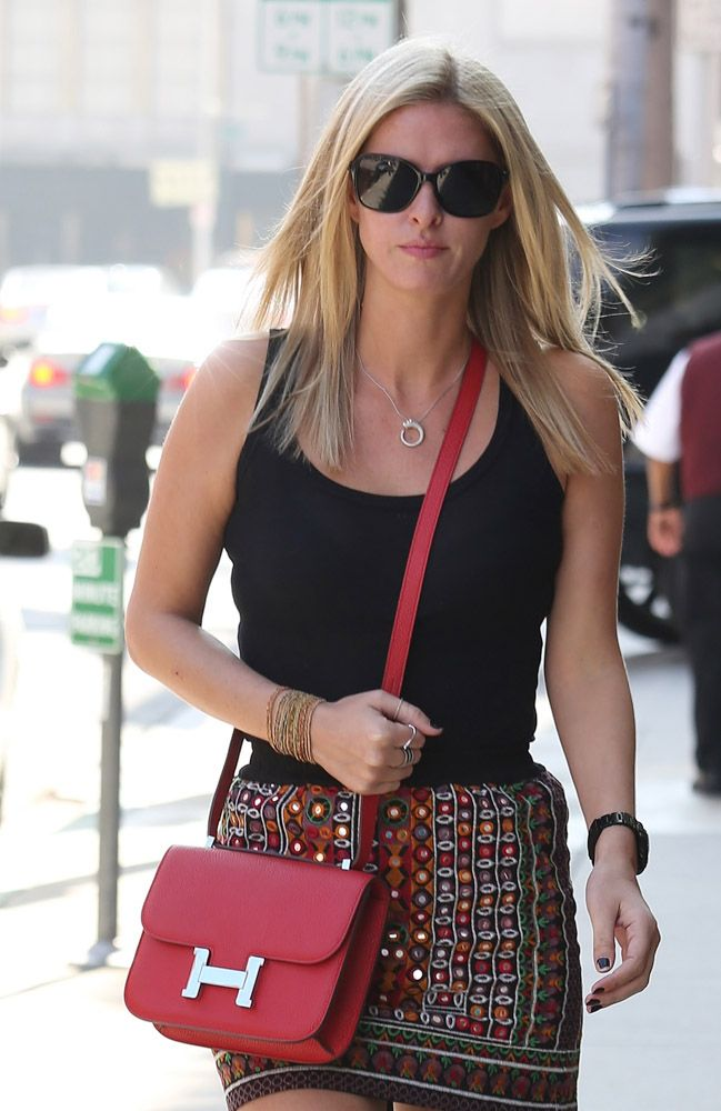 Nikki Hilton- #red Hermes shoulder bag | The Hermes Constance Bag ...