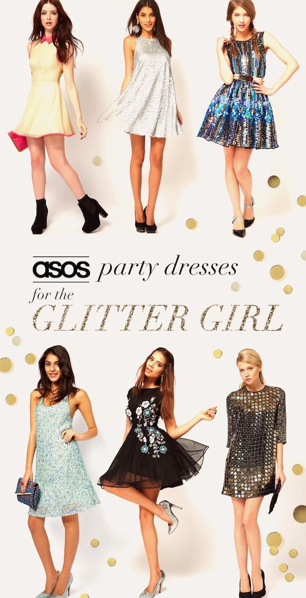 ASOS Party Dresses For A Glitter Girl. Plus, a chance to win a 2,000 dollar shopping spree to @asos.com from @Lucky Magazine #bestnightever