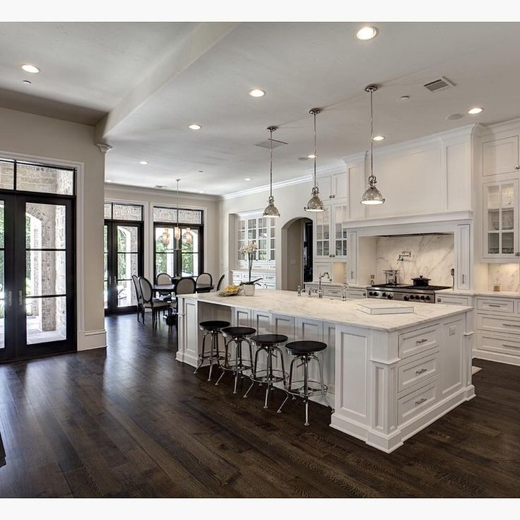 Love The Contrast Of White And Dark Wood Floors! By Simmons Estate Homes.  Would Change Out The Stools At The Island.do Not Like The Style Chosen For  This ...