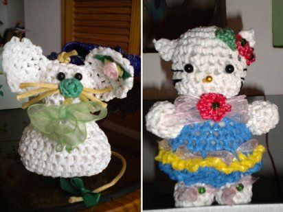 muñecos hechos a croshet con bolsas plasticas