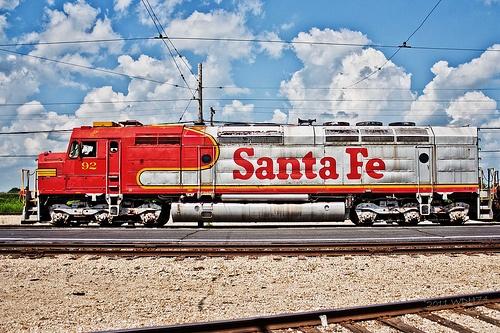 Santa Fe Train- awesome clouds