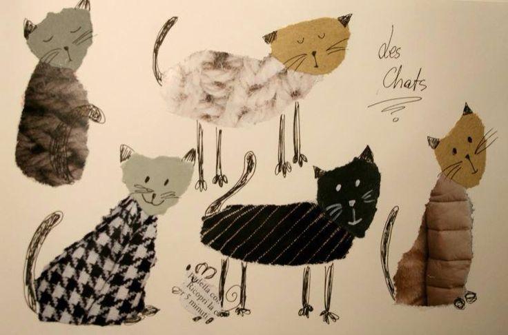 Cats paper collage, easy kidskraft on my blog: http://loradelte-eli.blogspot.it/2015/02/gatti-alla-moda-in-papier-dechire.html