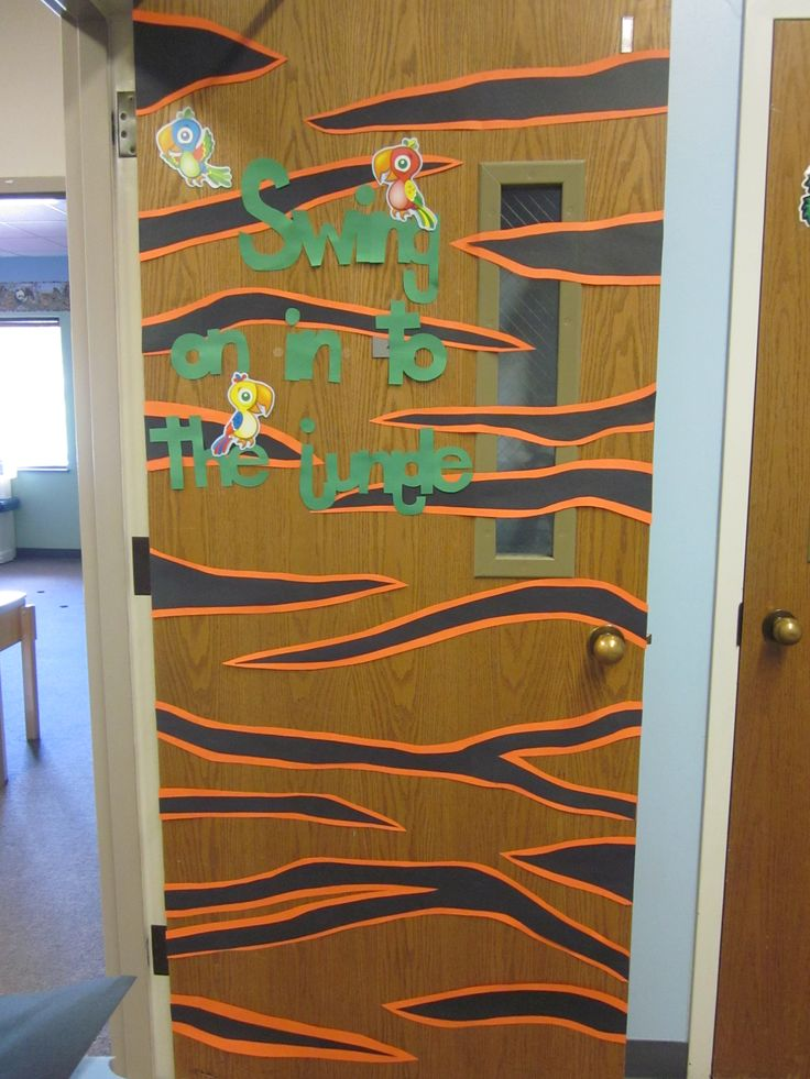 Tiger stripes for my classroom door for Jungle week