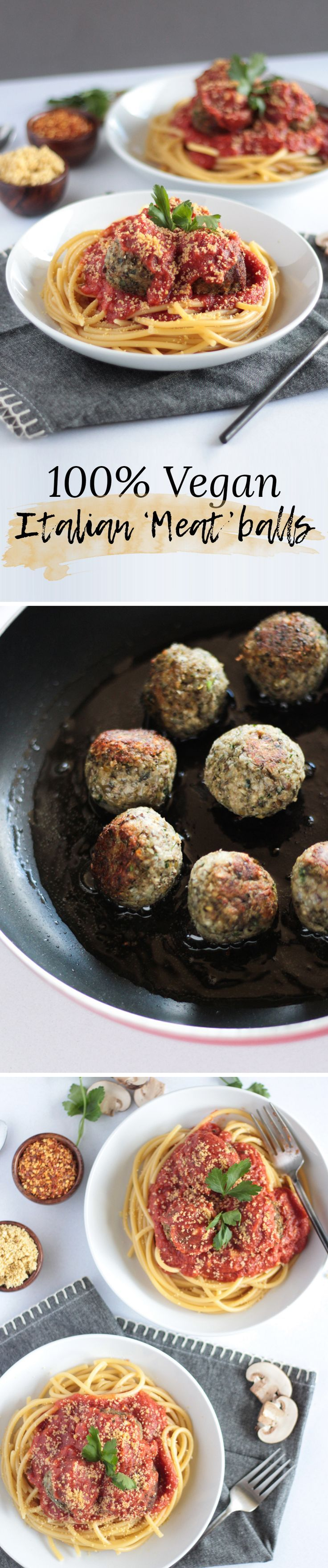 Vegan Italian Meatballs made with lentils and mushrooms